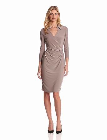 Jones New York Women's Long Sleeve Wrap Dress, Mushroom, 6
