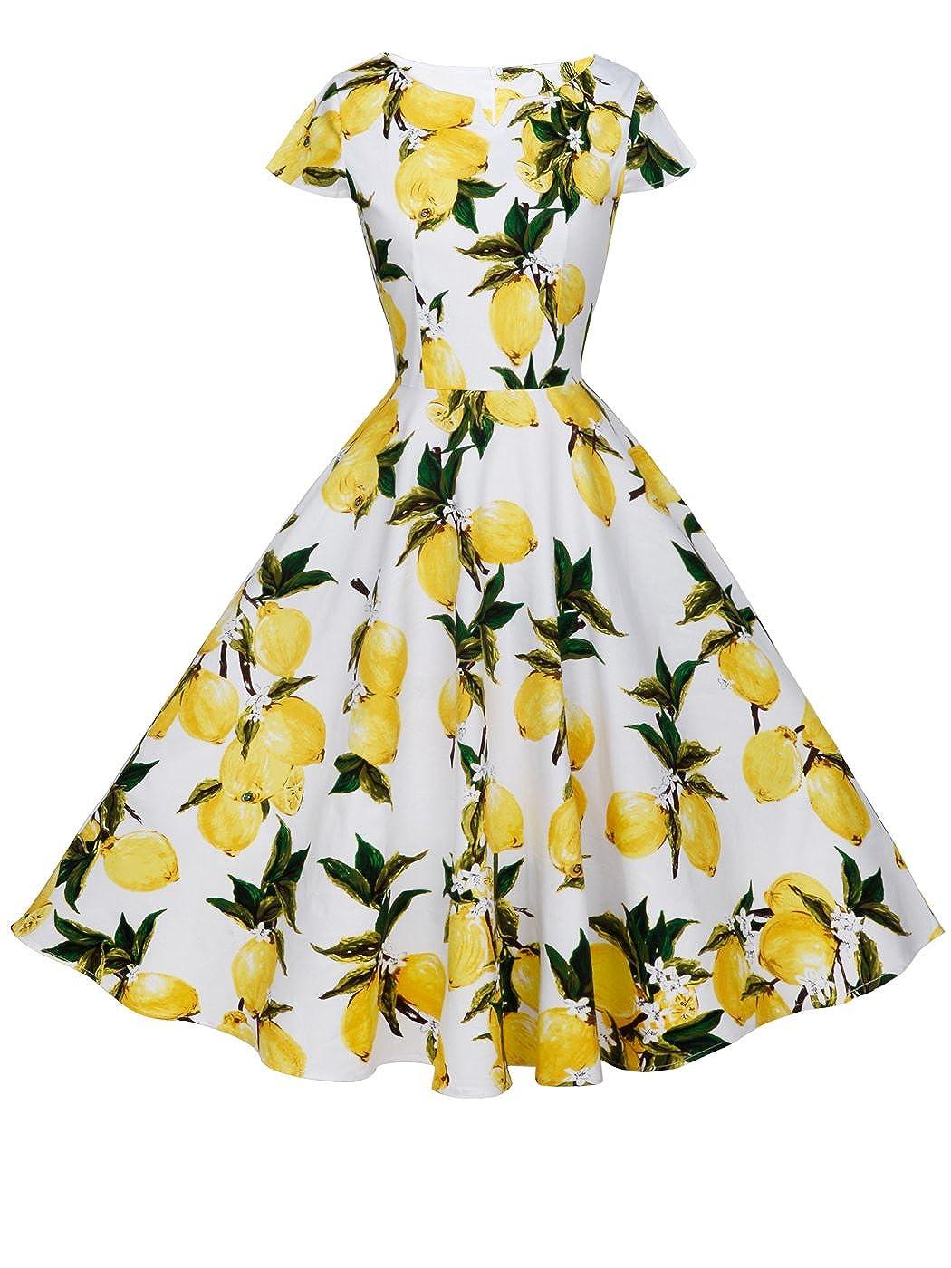 TALLA L. FAIRY COUPLE 1950S Vintage Rockabilly Lunares Cap Mangas Vestido de Baile DRT019 Frutas Amarillas Blancas