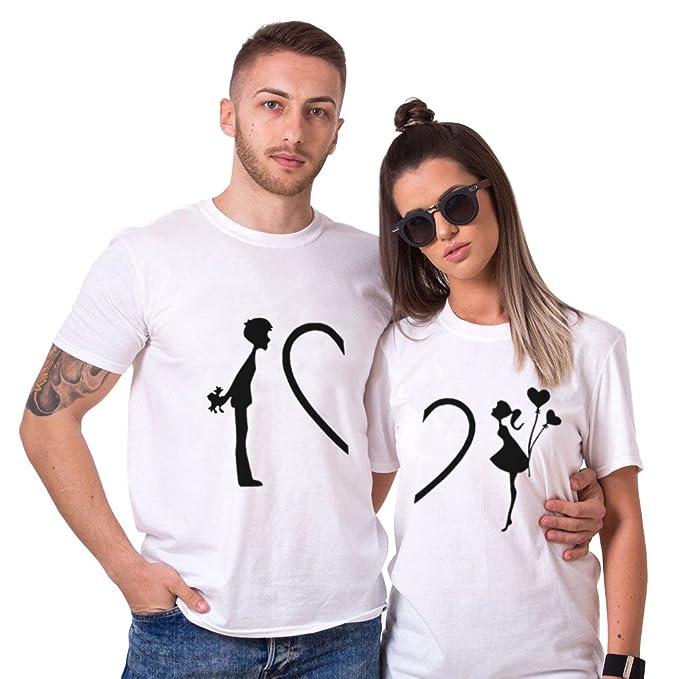 San Valentino Shirt King Queen 100% Cotone T-Shirt Couple Coppia Manica  Corta Bianco Nero Maglietta Girocollo Regalo di San Valentino Estate per  Donna Uomo  ... 4d805169384