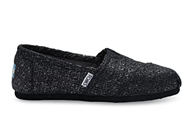 e5f5fd947950 Amazon.com | TOMS Classics Black Textured Glitter 10009296 Womens 10 ...