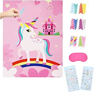 Topways® Pin The Horn on Juego de Fiesta de cumpleaños de Unicornio, Suministros para Juegos de Pin de Fiesta de cumpleaños para niños: Amazon.es: Juguetes y juegos