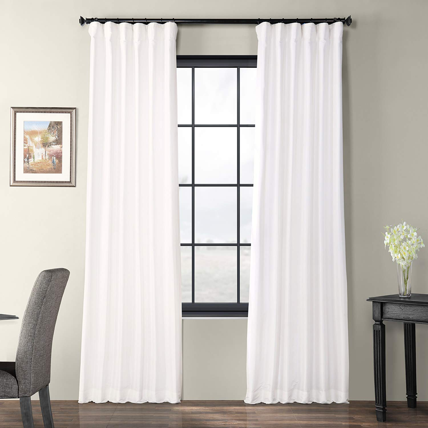 White 50 x 108 PTCH-JTSP429-108 Faux Silk Taffeta Curtain, Winter Ice, 50  x 108