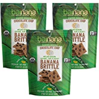 Barnana Organic Crunchy Banana Brittle - Toasted Coconut Chocolate Chips, 3.5 Ounce (3 Count) - Healthy Vegan Cookie Style Dessert Snack - Made with Sustainable, Eco Friendly Upcycled Bananas