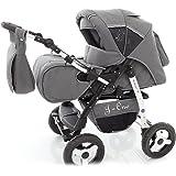 Chilly Kids J1 3 in 1 Cochecito Combinado (asiento del coche, cubierta para la lluvia, mosquitera 07 colores) 56 Safari gris