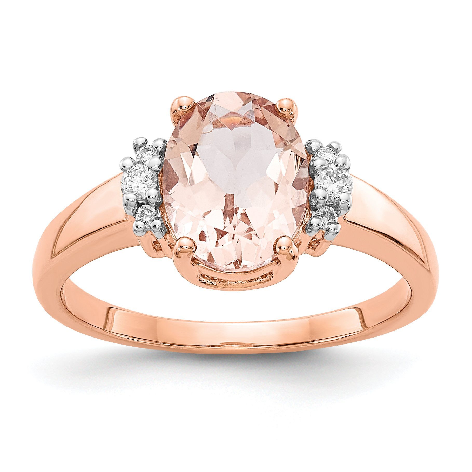 ICE CARATS 14k Rose Gold Pink Morganite Diamond Band Ring Size 7.00 Fine Jewelry Gift Set For Women Heart
