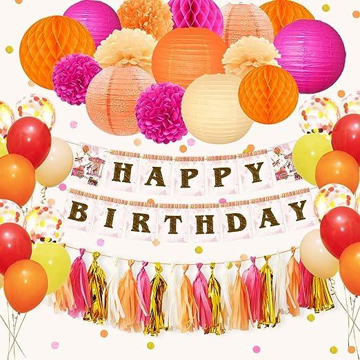 NICROLANDEE Happy Birthday Decorations - Farolillos de papel ...