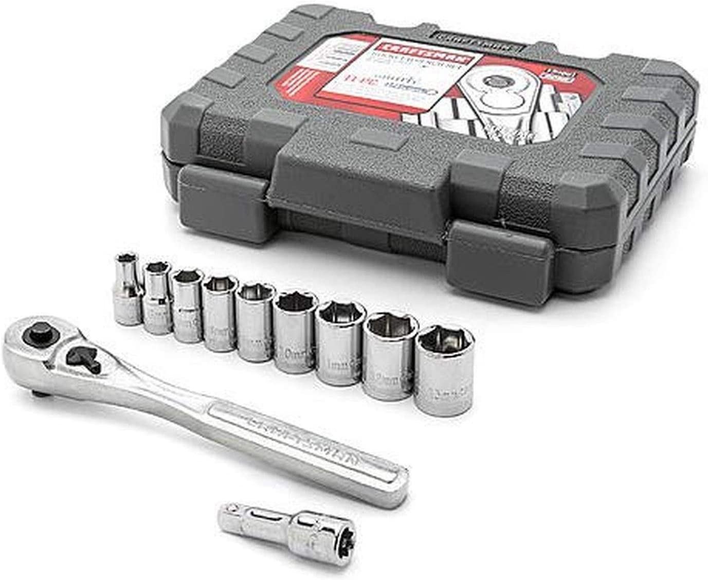 "11 pcs Craftsman 1//4/"" 3//8/"" 1//2/"" Drive Ratchet Socket Extension Set"