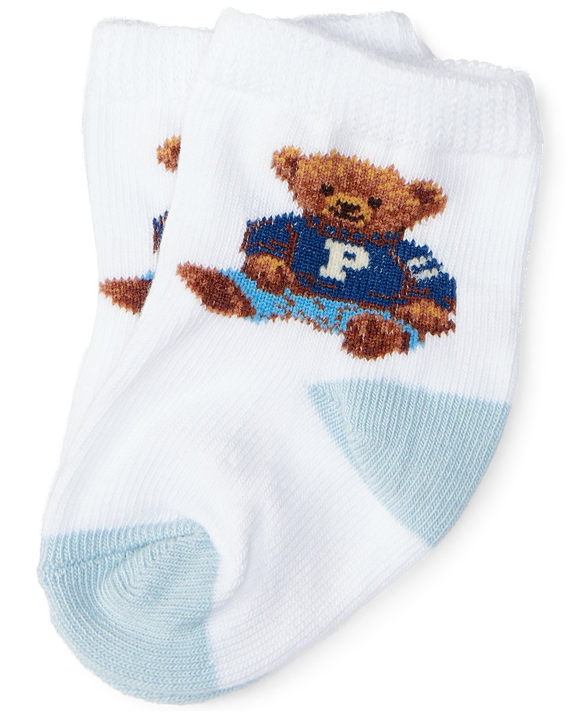 Ralph Lauren Infant`s Teddy Bear Crew Socks (0-6 Months, White (2606) / Blue) by RALPH LAUREN