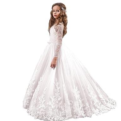 0d18163286d FancElegant Party First Communion Pageant Dress for Girls with Long Sleeves  Children Dress Flower Girl Dress