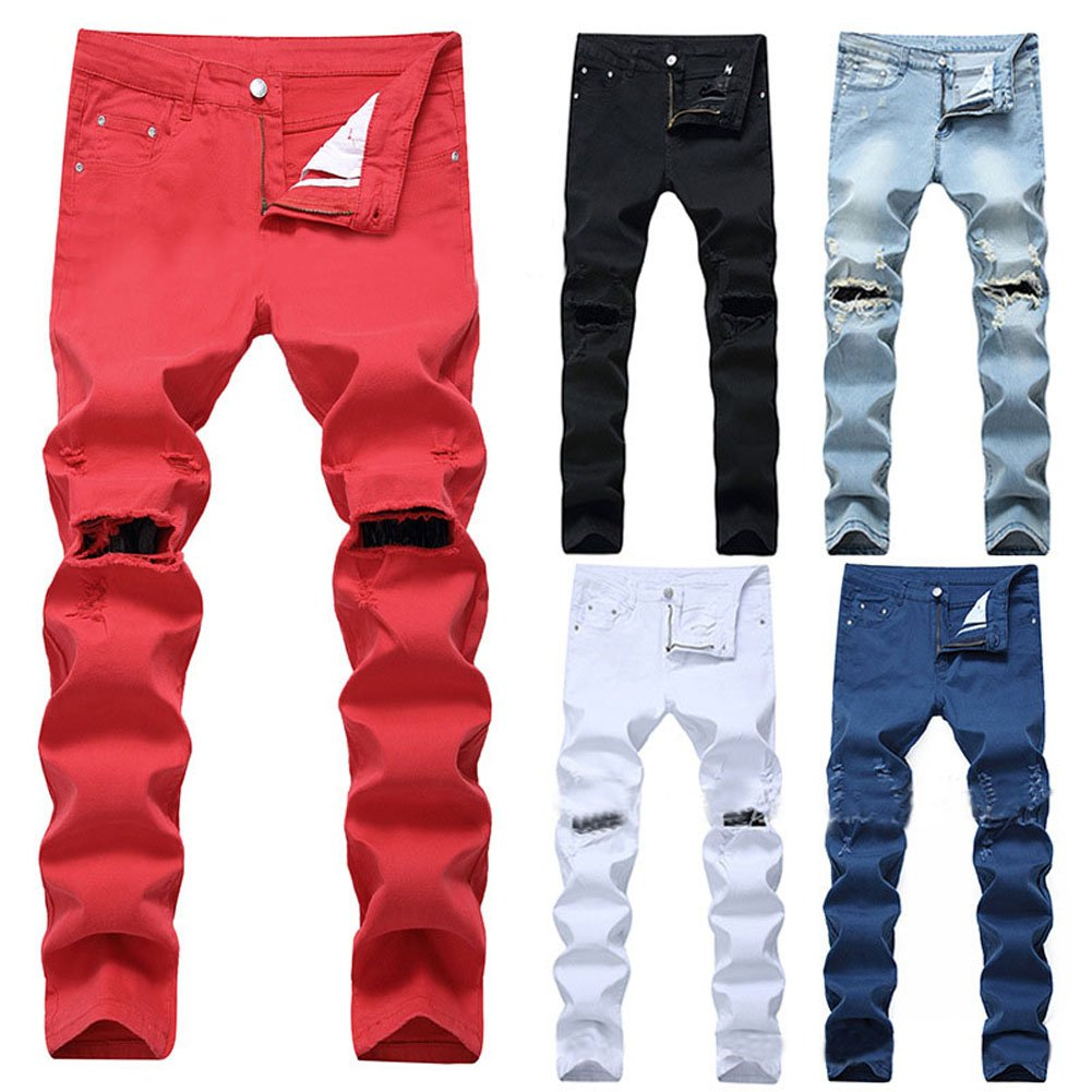 Wenseny Mens Ripped Destroyed Distressed Pencil Pants Straight Slim Denim Jeans with Holes