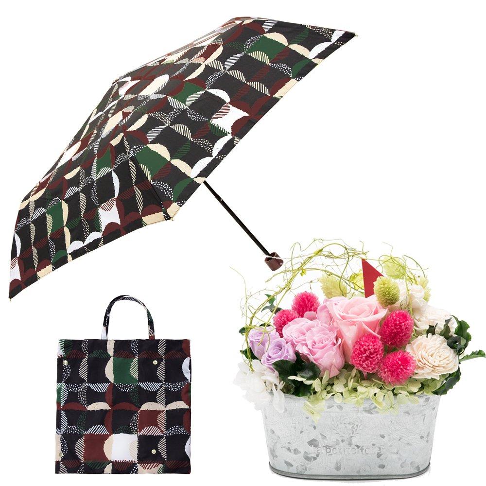 母の日ギフト プリザーブドフラワーと折り畳み傘のギフトセット B07CJH8NYS お花:Lサイズ ウロコグリッド/クロ ウロコグリッド/クロ お花:Lサイズ