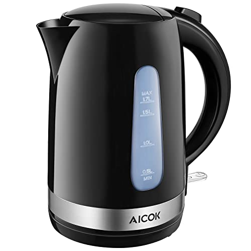 Aicok Electric Kettle 1.7L 3000W, Light-weight Kettle, Jug Kettle with BPA-Free, Auto Shut-off & Boil-Dry Protection, Black