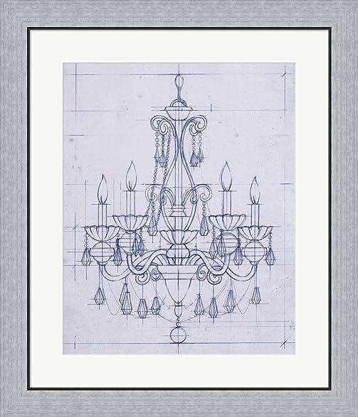 Amazon chandelier draft iii by ethan harper framed art print chandelier draft iii by ethan harper framed art print wall picture flat silver frame aloadofball Gallery