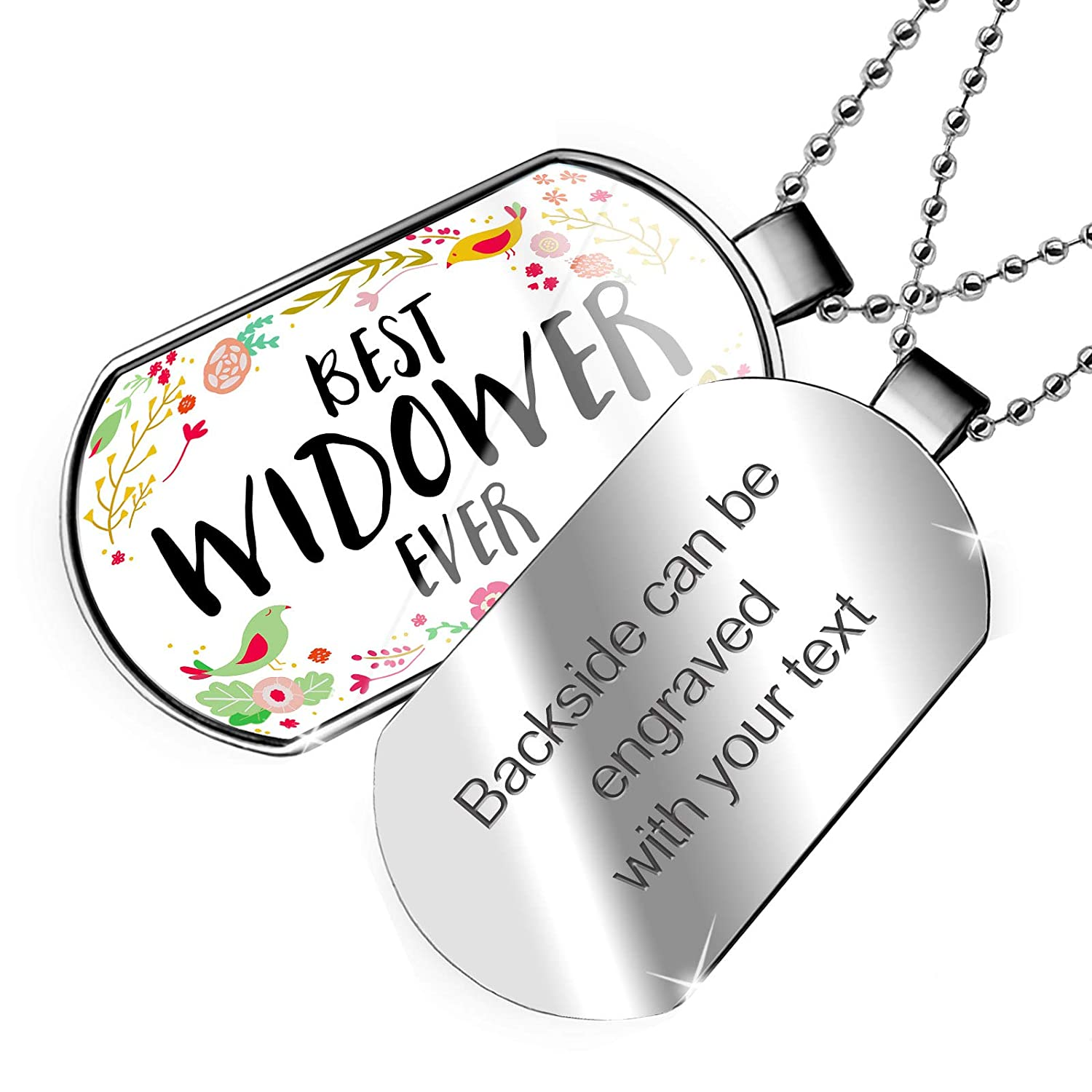 NEONBLOND Personalized Name Engraved Happy Floral Border Widower Dogtag Necklace