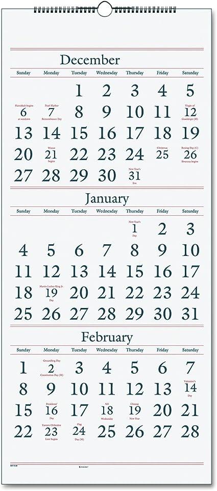 AT-A-GLANCE calendario de pared 2017, 3 Mes Vista, 14 meses, de diciembre de inicio, 12 x 27
