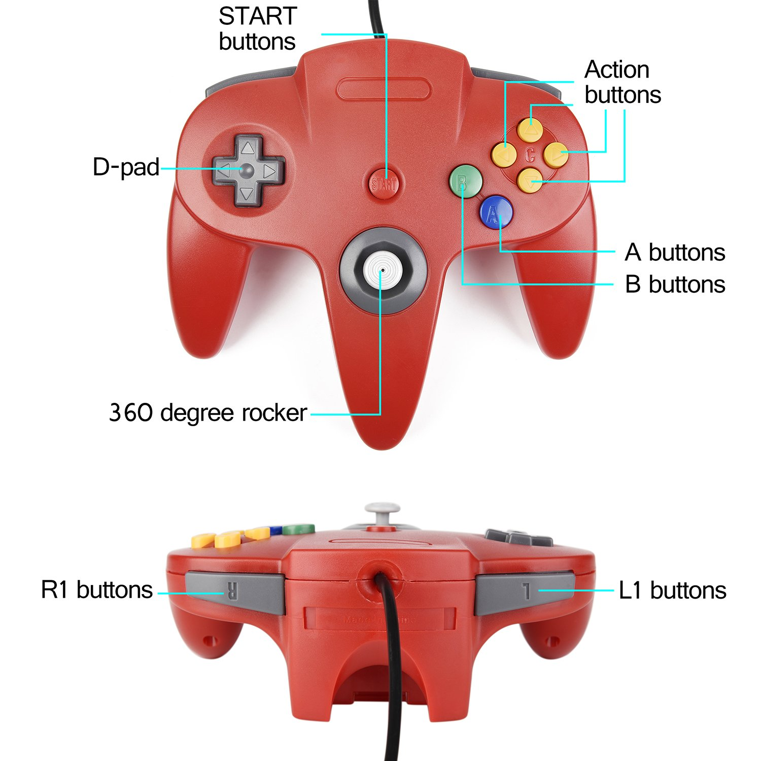 2xClassic N64 Controller,kiwitata Retro Wired Gamepad Controller Joystick for N64 Console Video Games System Red+Blue by kiwitata (Image #3)