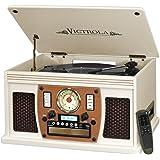Victrola Nostalgic Aviator Wood 8-in-1 Bluetooth Turntable Entertainment Center, White