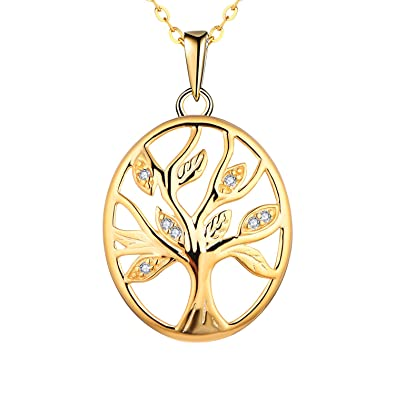 Starchenie Womens Gold Plated 925 Sterling Silver Cubic Zirconia Tree of Life Pendant Necklace 2bHYe