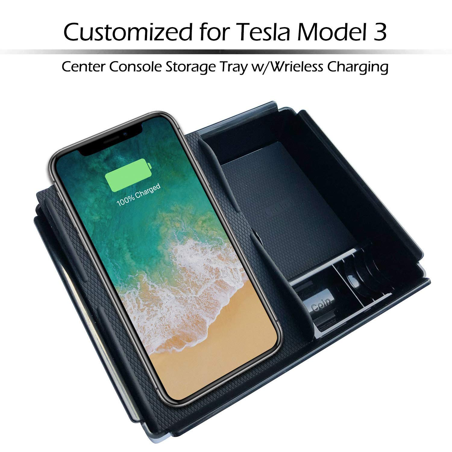 Car Center Console Armrest Storage Box with Wireless Charging for Tesla Model 3 Fit iPhone Xs Max//Xs//XR//X// 8//8 Plus Samsung S9//S9+//S8//S8+//S7//Note 8