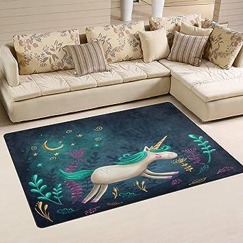Modern Floor Rugs Mat for Living Room Bedroom Dinning Room Home Decor ALAZA Beauty Unicorn Moon Non Slip Area Rug 2 x 3