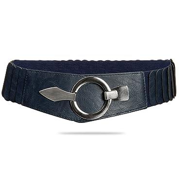 ceaaf327692388 CASPAR GU300 Damen elastischer breiter Stretchgürtel/Hüftgürtel /  Taillengürtel mit Silberschnalle, Farbe:dunkelblau