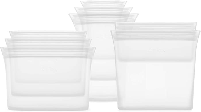 Zip Top Reusable 100% Platinum Silicone Containers - Full Set of 8 - Frost
