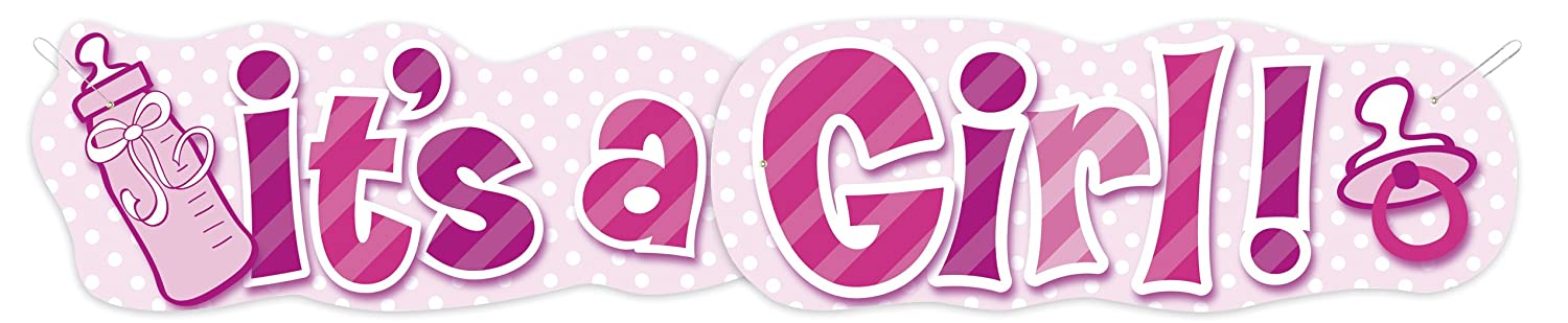 Amazon.com: 4.47ft Jointed It's A Girl Baby Shower Banner: Party ...