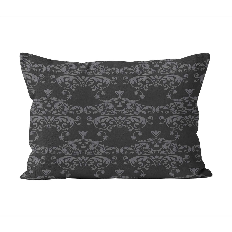 Sokiiy Unique Black Gray Damask Hidden Zipper Home Decorative Rectangle Throw Pillow Cover Cushion Case Inch 20x36 King One Side Design Printed Pillowcase