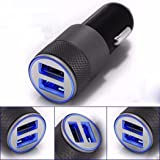 REALMAX® 2.1A Dual Usb Port LED 12V In Car Charger For iPhone 7 6  5 4 3 Plus iPad iPod Android Samsung Sony Xperia  HTC Smart Phone GPS Satnav And More