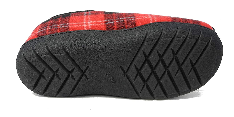 b578a1bf328e Womens Tartan Faux Fur Lined Memory Foam E 5E Extra Wide Fit Open Toe  Slippers  Amazon.co.uk  Shoes   Bags