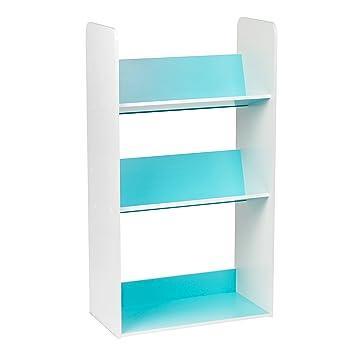 IRIS 3 Tier Tilted Shelf Book Rack Blue And White
