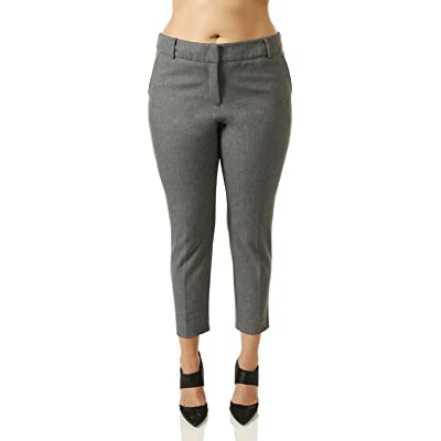 c76a749023fe 7Encounter Women s Plus Size Tweed Grey Ankle Pants