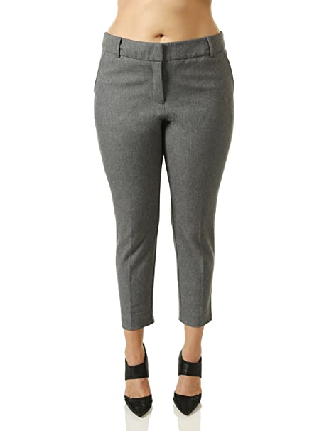 d9012636ff64a 7Encounter Women s Plus Size Tweed Grey Ankle Pants size 24 at ...