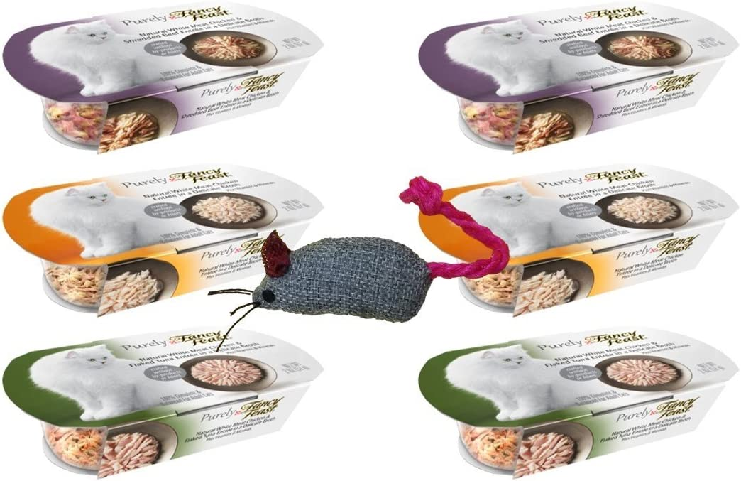 Fancy Feast Purely Complete Cat Food 3 Flavor Variety 6 Can with Toy Bundle: (2) White Meat Chicken, (2) White Meat Chicken & Flaked Tuna, and (2) White Meat Chicken & Beef, 2 Oz. Ea. (6 Cans w/Toy)