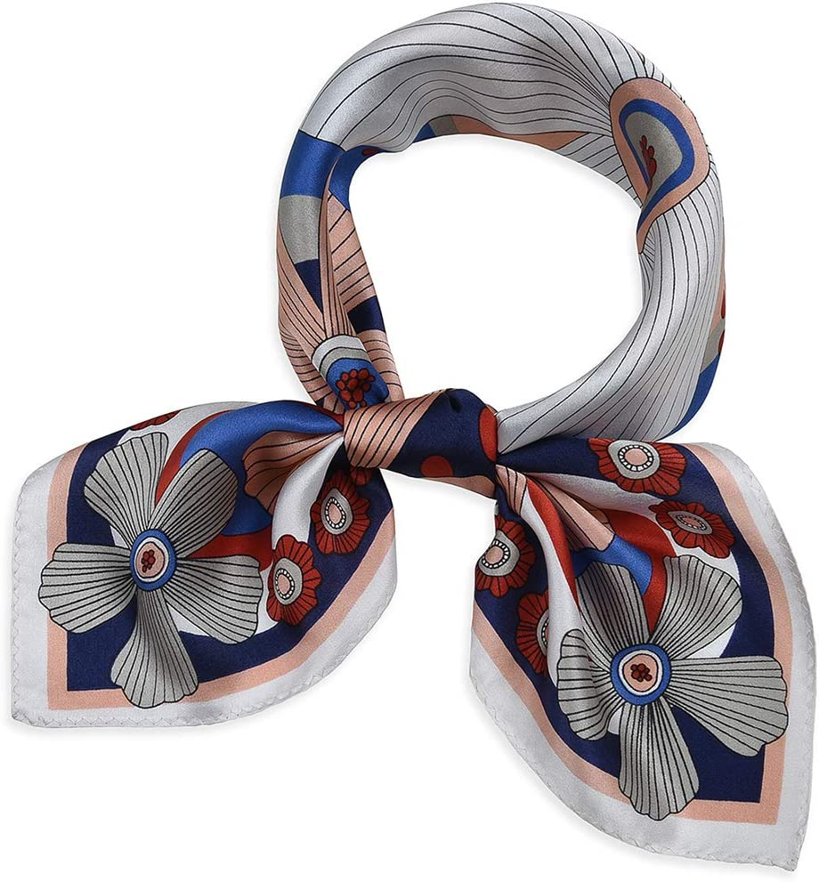 Corciova 21 Inches 100/% Real Silk Neck Scarf Small Square Scarves Neckerchiefs Light Cyan Horse Pattern
