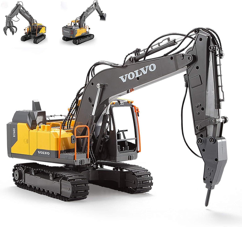 Control Remoto Excavadora camión, 2.4G Grande picadora Vehículo de Juguete RC Recargable, 1:16 simulación Completa de excavación Funcional para Regalo de los niños