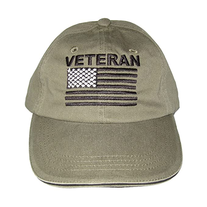 68d90f6f Armed Forces Depot Military Veteran Baseball Cap with U.S. Flag. OD Green  Khaki