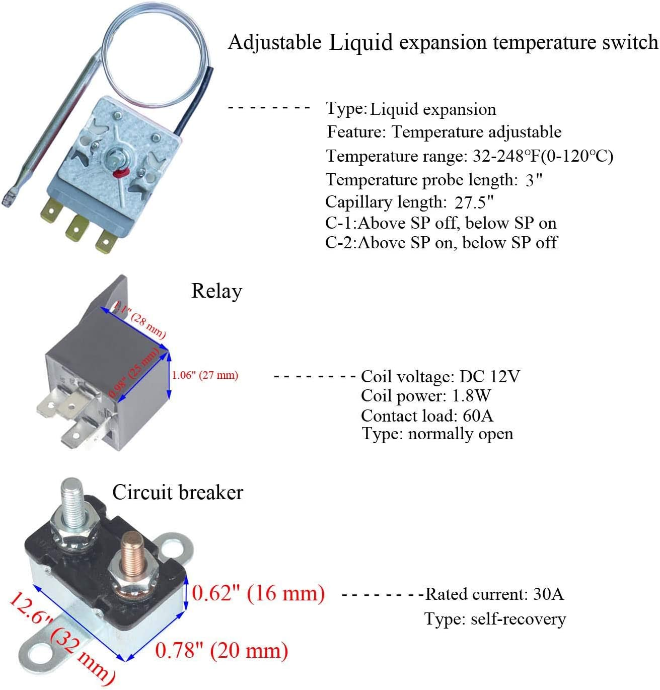Amazon.com: LITROK Adjustable Electric Fan Thermostat Liquid Expansion Type Temperature  Control Switch with 12V 60A Relay 30A Breaker kit: Automotive | Adjustable Temp Control Relay Wiring Diagrams |  | Amazon.com