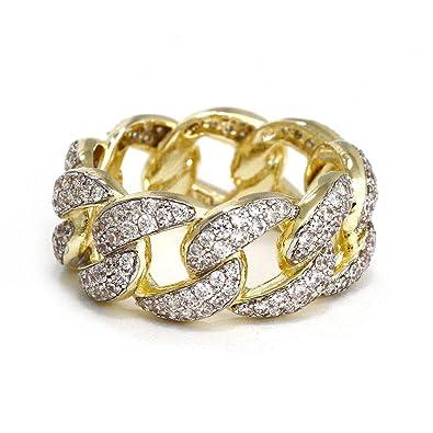 9d30ce14c98c7 Miami Cuban Link Ring Gold CZ 10mm