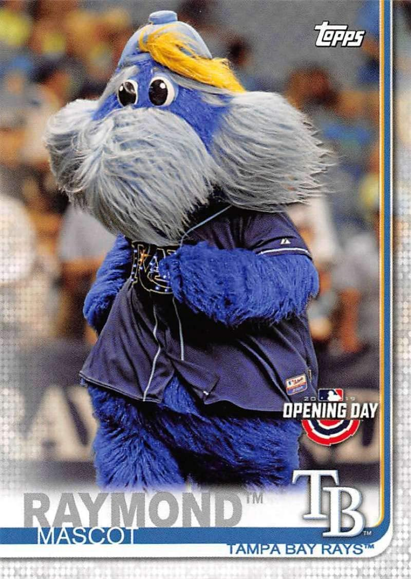 amazon com 2019 topps opening day mascots baseball m 23 raymond tampa bay rays official mlb trading card collectibles fine art 2019 topps opening day mascots baseball
