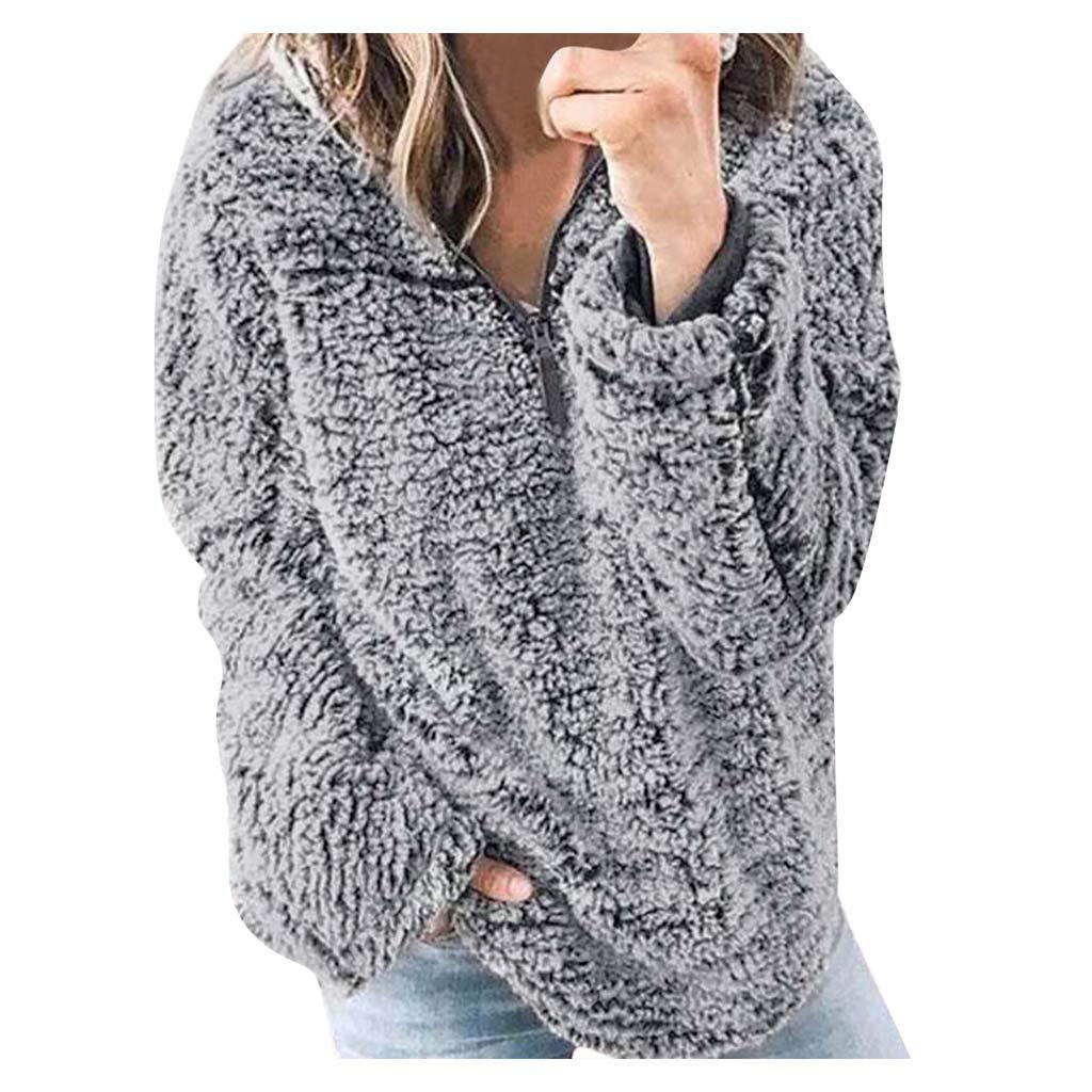 Women Winter Long Sleeve Zipper Sherpa Sweatshirt Soft Fleece Pullover Outwear Jumper Blouse with Pockets by HNTDG by HNTDG