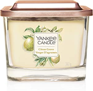 YANKEE CANDLE Elevation Coll. W/PLT Lid - Medium Square Candle with 3 Wicks Citrus Grove 1591090E