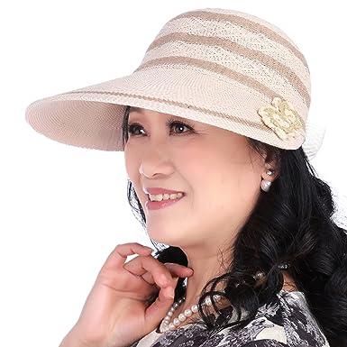 Old lady visor in summer Folding style Sun Hat Cap adjustable anti ... a86f63977f3