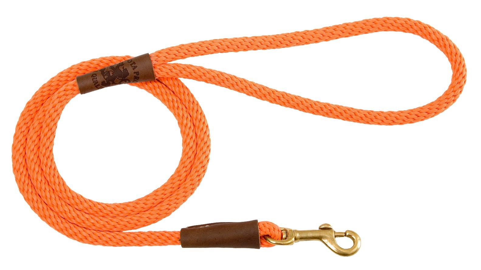 Mendota Pet Snap Leash, 3/8'' x 6', Orange