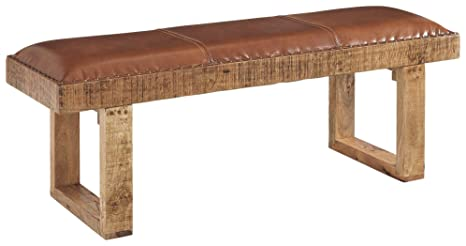 Ashley Furniture Signature Design - Eduardo Accent Bench - Distressed Brown  Finish - Padded Brown Leather Seat - Brass Nailhead Trim