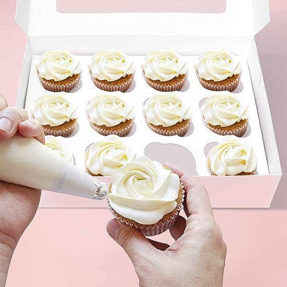Cajas especiales para cupcakes con inserto – cajas de panadería blancas, cajas de postre para cupcakes, galletas, brownies: Amazon.es: Hogar