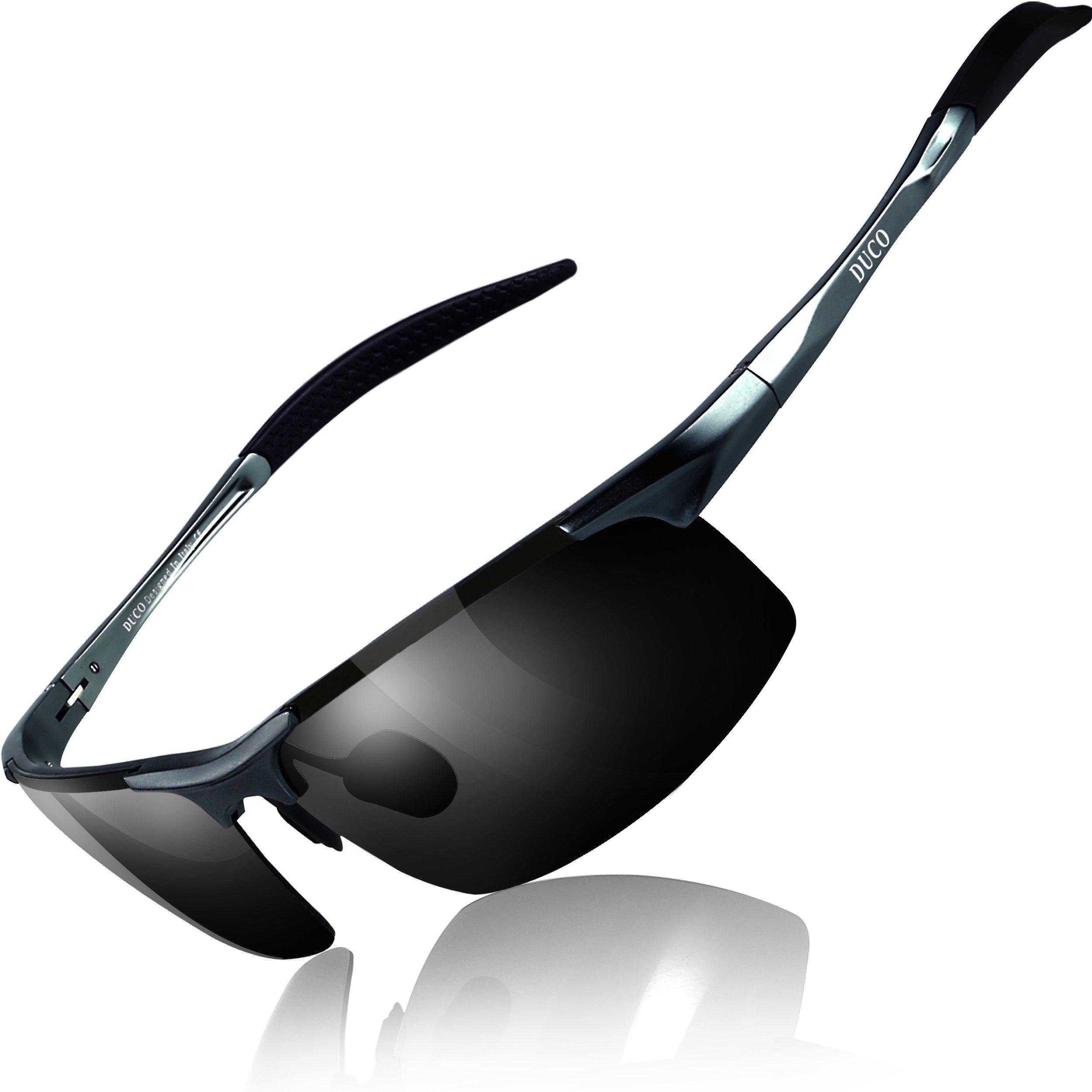 Duco Gafas de sol deportivas polarizadas para hombre con ultraligero y marco de metal irrompible,