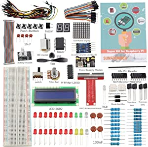 SunFounder Raspberry Pi 4 Model B Starter Kit Project Super Kit for RPi 4B 3B+ 3B 2B B+ A+ Zero Including GPIO Breakout Board Breadboard LCD DC Motor LED RGB Dot Matrix 73 Page Manual User Guide