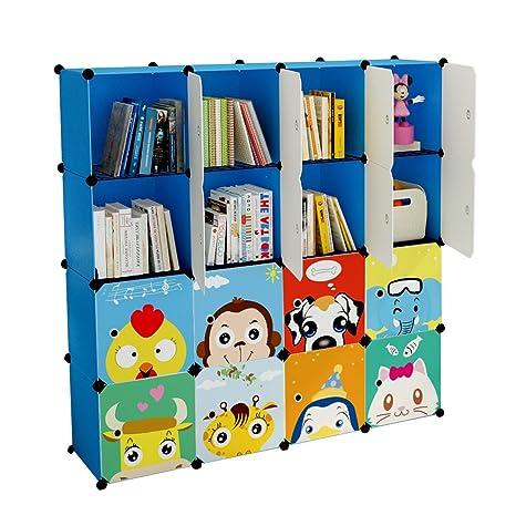 Koossy Stufenregal Bucherregal 16 Facher Spielzeugschrank Fur Arbeitszimmer Und Kinderzimmer 136 X 35 X 136 Cm Blau