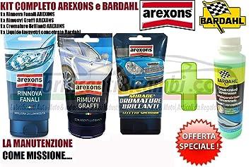Kit de 4 artículos de Arexons Bardahl para el cuidado de los faros, la eliminación de arañazos, para abrillantar las superficies cromadas y limpiar los ...